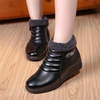 冬季加�q保暖短靴女短筒棉靴防水防滑坡跟����鞋女鞋毛�q棉鞋