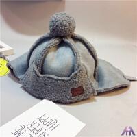 儿童雷锋帽秋冬款男女童护耳帽羊羔毛帽宝宝保暖防寒帽子