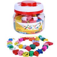 木质45粒大号儿童穿珠子串珠玩具宝宝动物水果认知益智玩具