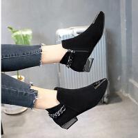2019春秋季新款欧美时尚金属尖头绒面短靴女粗鞋跟低跟马丁靴单鞋 黑色