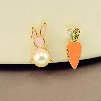 可爱兔子狐狸卡通耳夹耳钉软垫耳夹无耳洞耳环耳饰