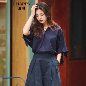 海贝夏季新款女装上衣 甜美纯棉圆领五分袖系带休闲宽松衬衫