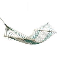 户外单人网状绳吊床加粗加固棉线带木棍木棒双人便携秋千网床
