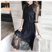 款连衣裙度假长裙女装韩版黑色修身显瘦蕾丝裙子可礼品卡支付