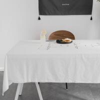 【人气】媲美 北欧宜家简约现代文艺纯色棉麻台布茶几餐桌布布艺亚麻ins新桌布 MM米白烫金桌布