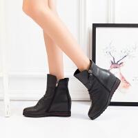 娜箐箐冬新款休闲头层牛皮坡跟圆头内增高短靴女高跟真皮女靴