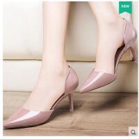 莫蕾蔻蕾猫跟鞋女高跟鞋春季新款女百搭低跟鞋女单鞋细跟尖头韩版性感6q362
