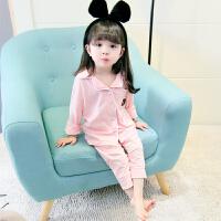 儿童睡衣宝宝1-3岁女童家居服夏季纯棉公主可爱韩国5时尚短袖套装 粉红色 长袖
