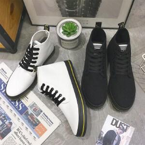 男鞋秋季潮鞋新款帆布鞋高帮精神小伙鞋韩版板鞋青少年鞋子潮流男