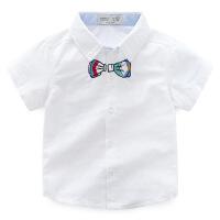 宝宝短袖衬衫 2018夏装韩版新款男童童装 儿童绅士刺绣领结衬衣潮