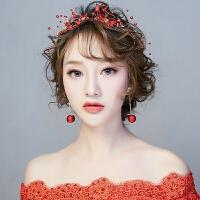 红色新娘头饰中式发带发箍新款敬酒服礼服套装发饰配饰