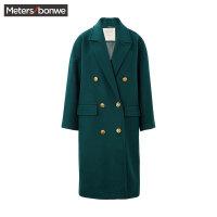 美特斯邦威毛呢外套女士秋冬装舒适中长款羊毛呢大衣格子学生潮