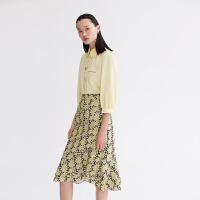 LILY2021夏新款女装设计感立体蝴蝶领定位印花七分袖泡泡袖衬衫