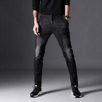 男土秋季新款男士黑色牛仔裤破洞修身型小脚牛裤子秋季长裤潮 黑色