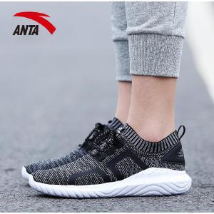 安踏女鞋休闲鞋2018春季新款透气跑步袜子鞋网面运动鞋12728828
