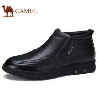 camel 骆驼男鞋 秋冬新品商务休闲真皮套脚加绒保暖男士皮鞋子