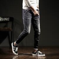 【2件2.5折】唐狮春季黑色牛仔裤男小脚修身青少年男装牛仔裤长裤韩版潮流