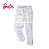 【满200减80】Barbie芭比女童装秋装蕾丝拼接印花松紧腰打底运动裤休闲长裤