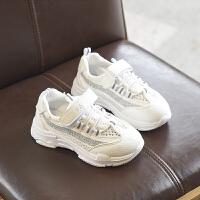儿童运动鞋女童鞋老爹鞋2018春款休闲鞋男童小白鞋中大童 白色 LMD1105
