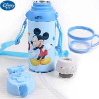 迪士尼儿童真空不锈钢304保温杯小学生男女童双杯盖水杯米奇吸管杯一杯二用