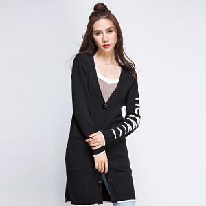2017秋冬新款黑色宽松单排扣v领针织衫开衫毛衣女中长款字母外套