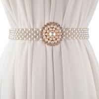 韩版甜美珍珠女士宽腰带 时尚花朵配裙子百搭装饰弹性宽款女腰链