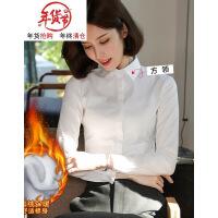 白衬衫女长袖职业装2018新款秋冬季黑加绒厚棉工作服保暖打底衬衣