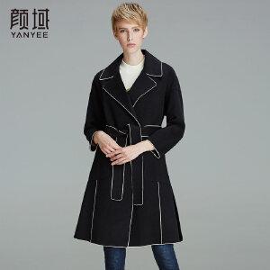 颜域品牌女装2017冬装新款时尚OL大翻领修身九分袖双面呢羊毛大衣