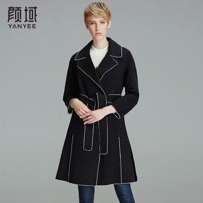 颜域品牌女装2017冬装新款时尚OL大翻领修身九分袖双面呢羊毛大衣口袋设计,大气时尚