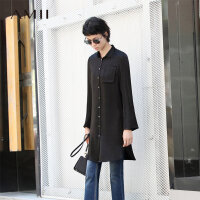 【尾品价:138元】Amii[极简主义]秋装新款桑蚕丝上衣中长款长袖衬衫女11682443