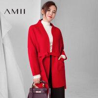 【1件7折/2件5折】AMII[极简主义]秋冬装新品中长款100 羊毛双面毛呢大衣外套女