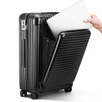 2018新款纯pc商务拉杆箱万向轮26寸密码箱子超轻旅行箱24寸出国行李箱28寸 大气黑 电脑包款