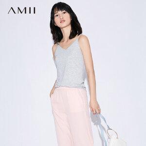 【五折再叠20元优惠券】Amii[极简主义]2018夏装新款百搭休闲性感露肩吊带背心女外穿
