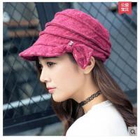 帽子女秋冬韩版时尚八角帽韩国蓓蕾帽显瘦鸭舌帽时装帽女士贝雷帽