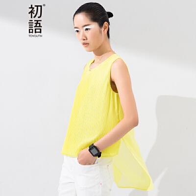 【下单减100 商场同款】初语夏季新款 百褶前长后短设计净色雪纺背心女8621026010