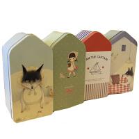 韩版房屋造型马口铁盒 文具盒/笔盒 桌面收纳盒子 狐狸小女孩多选