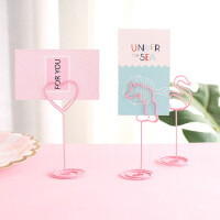 办公桌面摆件 粉色独角兽造型创意便签夹 线成形名片夹 相片夹