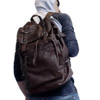 韩版复古英伦男士pu皮双肩包 潮包背囊旅行包大容量男书包男包电脑包背包