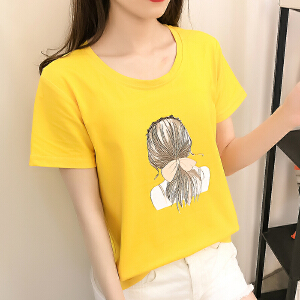 白色短袖t恤女新款韩版修身学生体恤打底上衣夏季