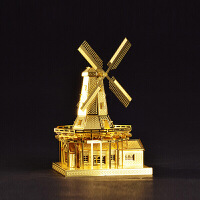 荷兰风车益智手工拼装工艺品家居模型拼酷 3D立体合金模型玩具