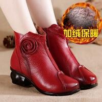 头层牛皮短女靴女马丁靴冬季民族风复古粗跟中年女鞋妈妈短靴