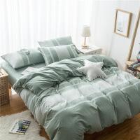 全棉水洗棉条纹床上用品四件套纯棉天竺棉床单床笠款4件套