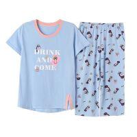 女士睡衣秋季短袖七分裤纯棉韩版可爱薄款加大码全棉家居服套装 白+浅蓝 F702
