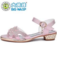 大黄蜂女童凉鞋新款 夏天女孩公主鞋小学生韩版大女童高跟鞋