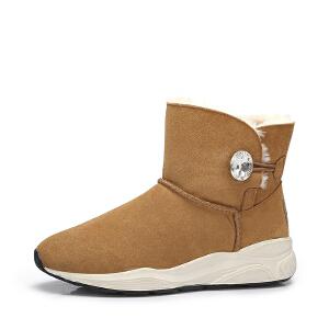 camel骆驼女鞋 2017秋冬新款 简约纯色运动雪地靴女时尚保暖短筒靴子