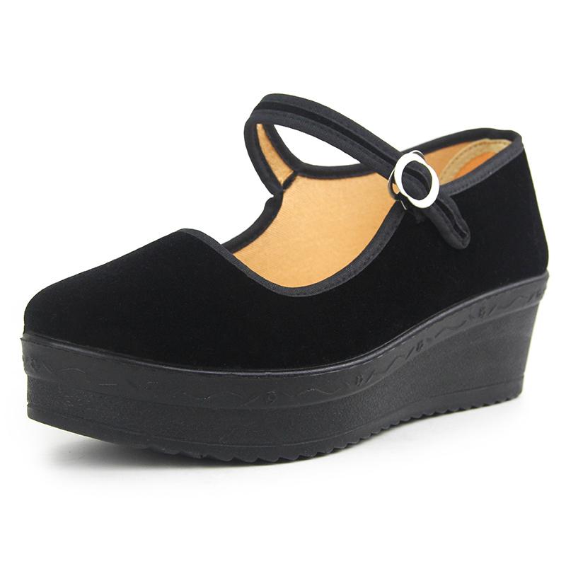 厚底高跟布鞋女软底黑布鞋酒店工作鞋平底礼仪单鞋妈妈舞鞋
