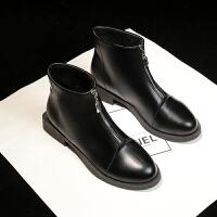网红短靴女2019新款马丁靴学生韩版百搭切尔西靴粗跟复古短筒靴潮 黑色