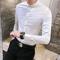 春秋男士潮流韩版修身纯白色百搭上班长袖衬衫青年免烫休闲衬衣
