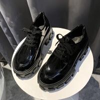 小皮鞋女2019秋冬季新款百搭厚底松糕鞋英伦风复古系带舒适单鞋子 黑色