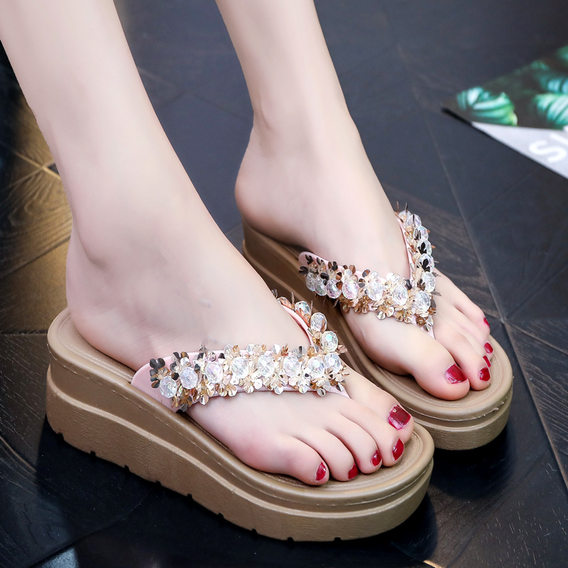 夏季新款水晶串珠花朵人字拖女厚底可爱时尚海边沙滩凉拖鞋 水晶串珠夹脚 粉色